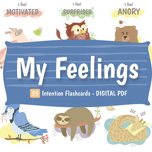 DIGITAL DOWNLOAD PDF - My Feelings Intention Cards for Kids - 35 Printable Cards