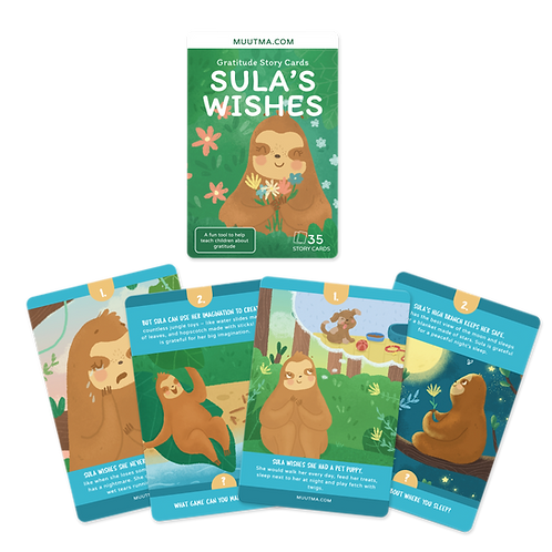 Gratitude Story Flashcards | Exploring Gratitude with Sula the Sloth | 35 Cards