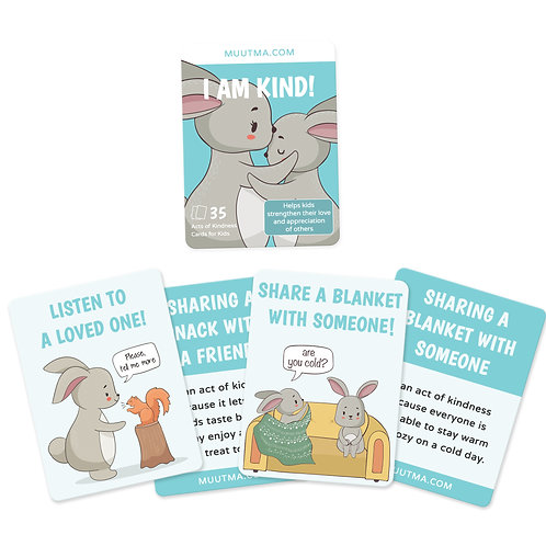 Acts of Kindness Flashcards for Kids | I am Kind! | 35 Cards