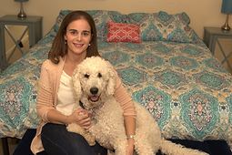 Great Lakes Teletherapy therapist with her dog