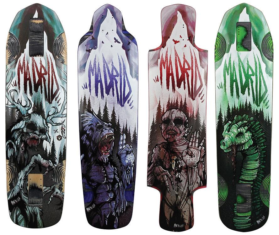 Skateboardgrafik madrid skateboards. Illustrerad skategrafik.