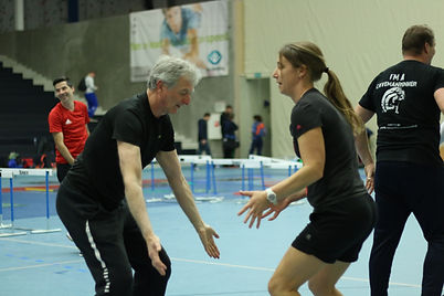 Woman and man training indoors