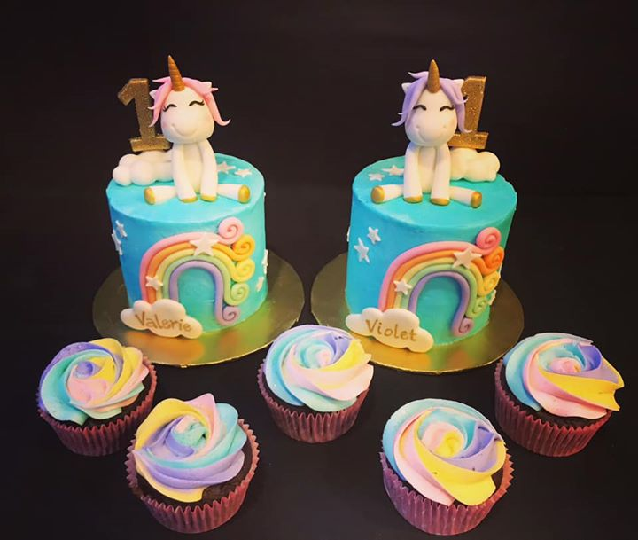 Double Unicorn Smash cake