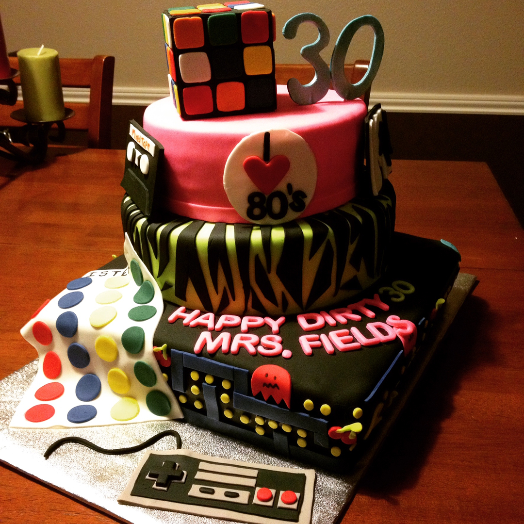 Flash back decades theme cake