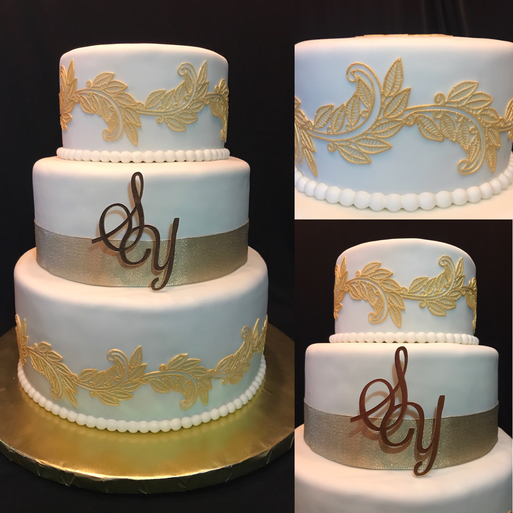 Gold leaves wedding cake