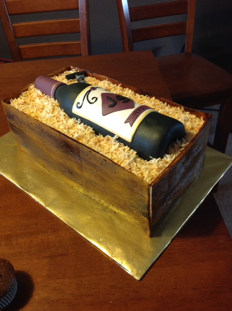 Wine box/bottle theme cake