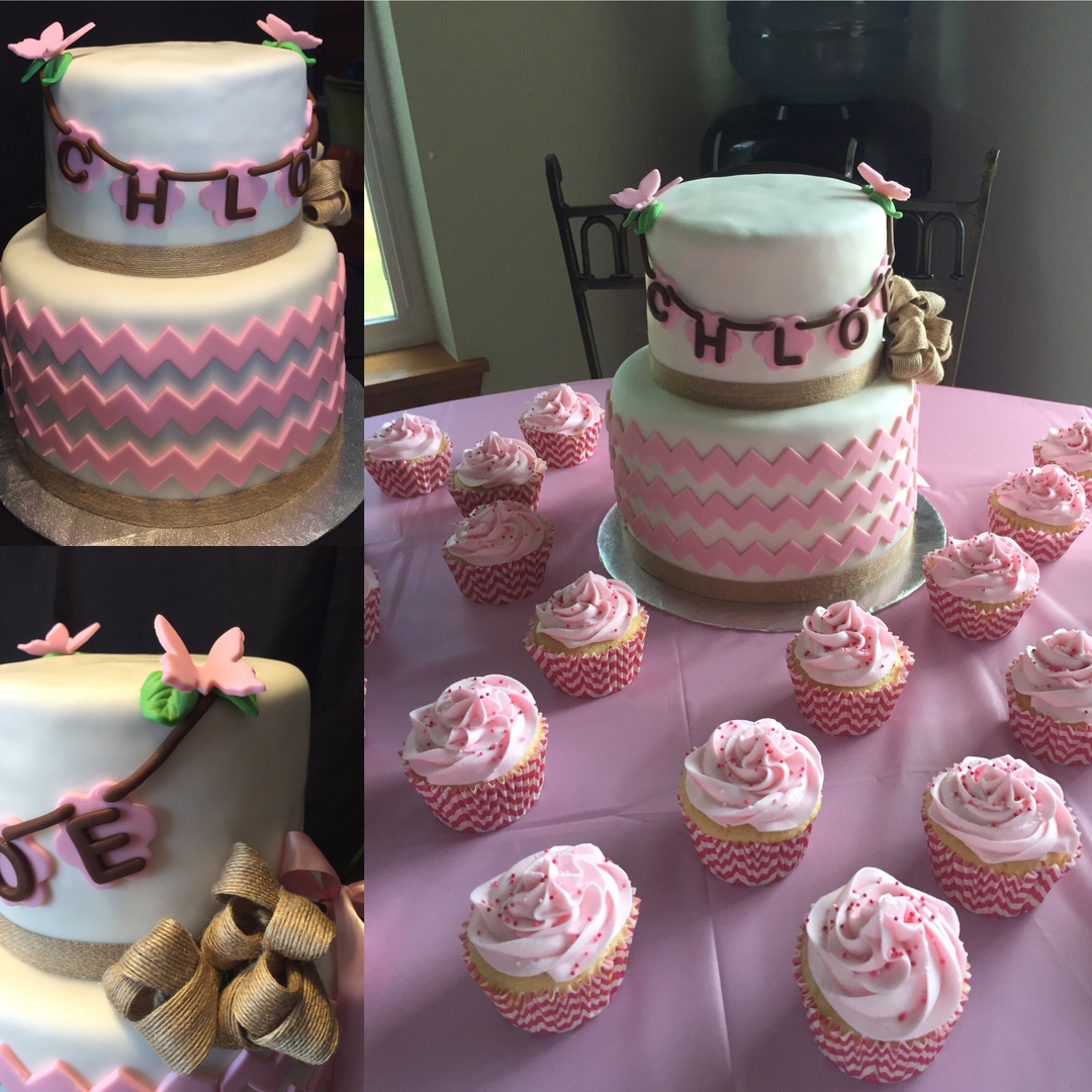 pink chevron baby shower cake