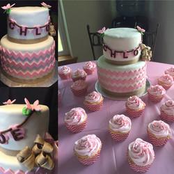 pink chevron baby shower cake
