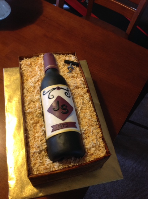 Wine bottle/box theme cake
