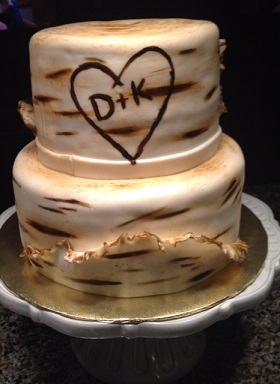 Birch tree wedding cake