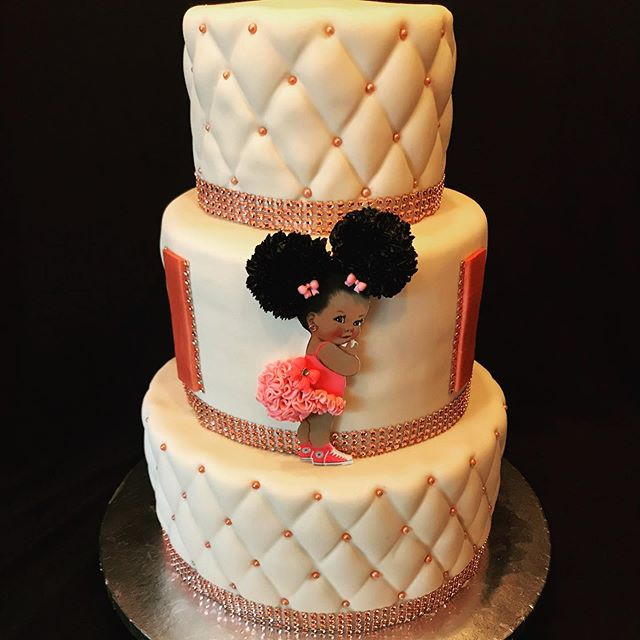 Rose gold baby girl cake