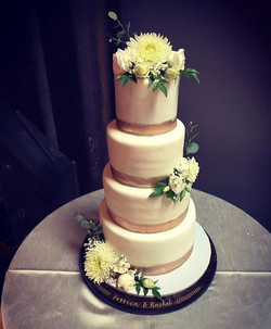 4 tier gold band wedding cake