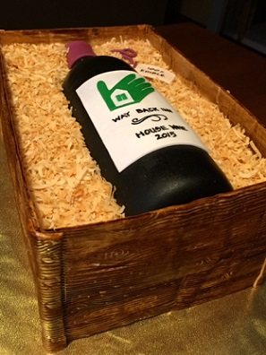Wine bottle and crate Cake