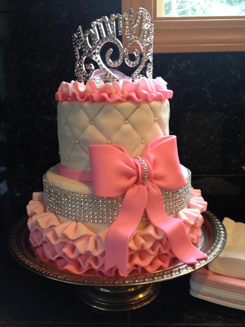 Pink ruffle w/bling baby shower cake
