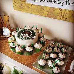 Coffee theme cake and cupcakes