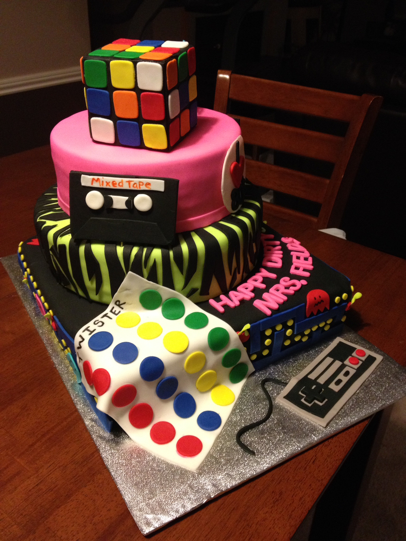Flash back/decades theme cake