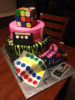 Flash back/decades theme cake