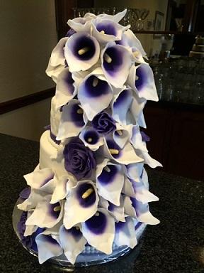 Purple Calla Lilly Wedding Cake