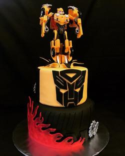 Bumblebee transformer tier cake