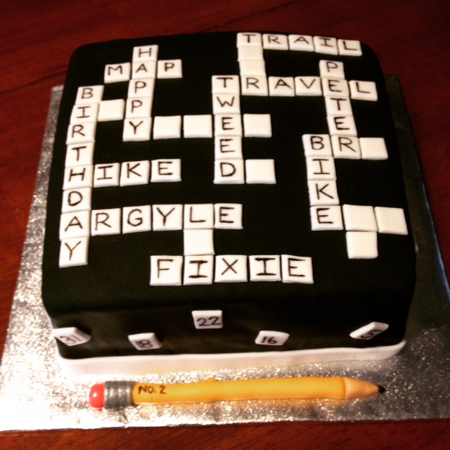 Scrabble inspired birthday cake