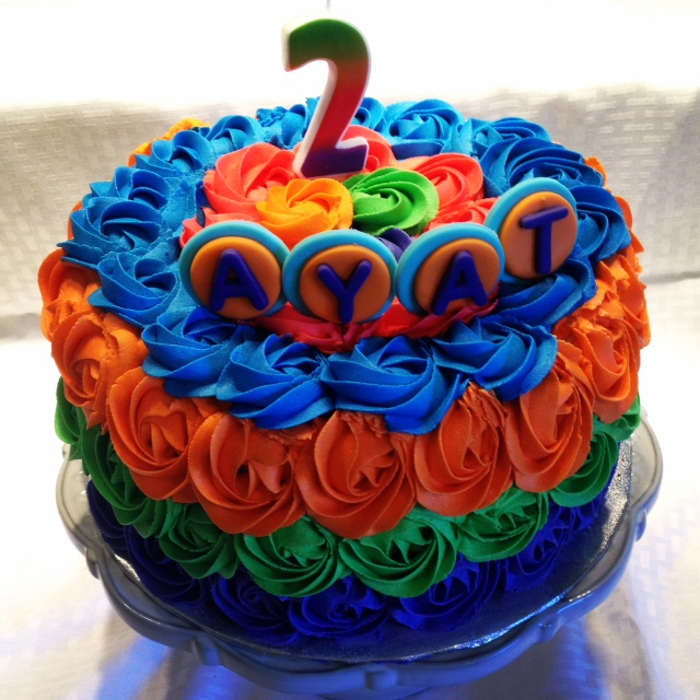 multi colored rosette cake