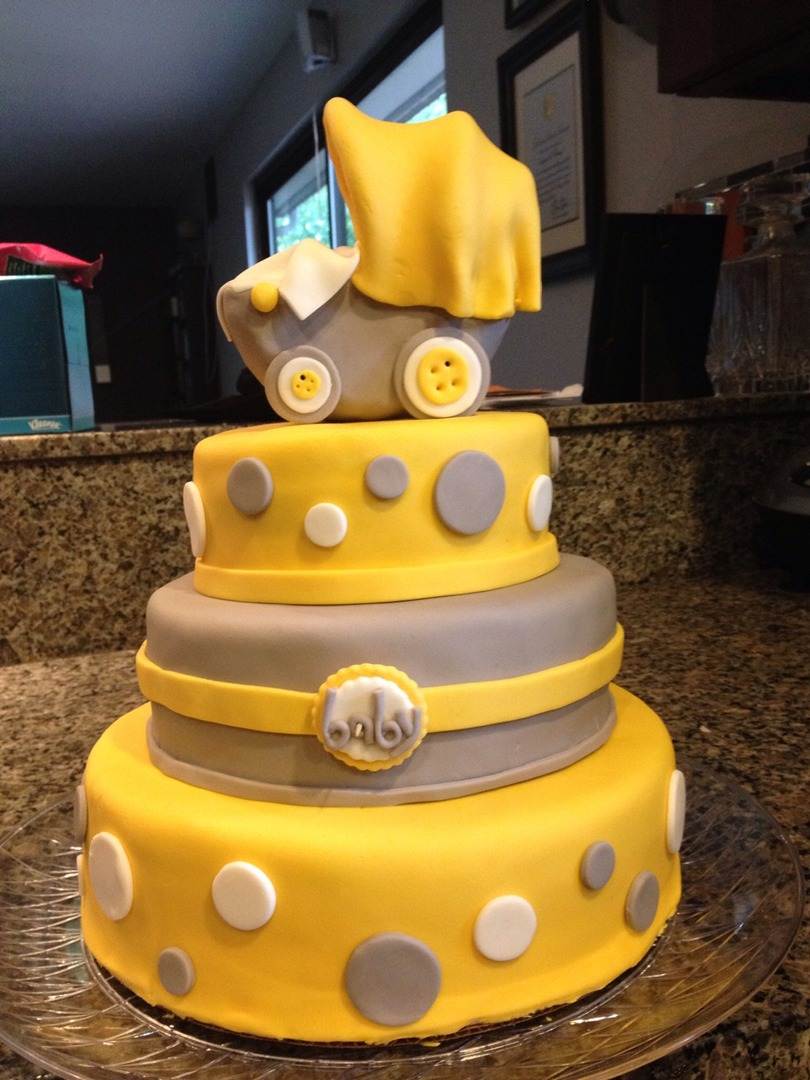 baby shower cake- yellow & Grey