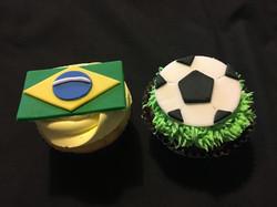 Brazilian Flag/soccer cupcakes