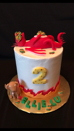 Dragons and tacos cake