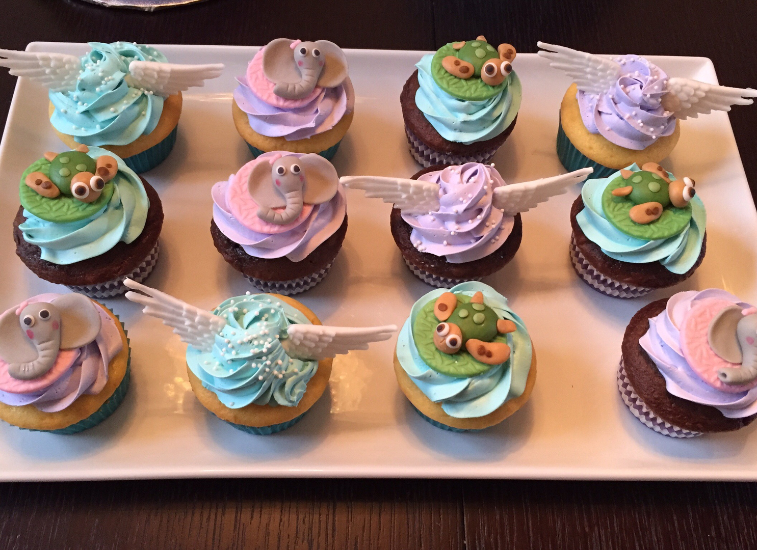 Turtle/Elephant/Angel Wing Cupcakes