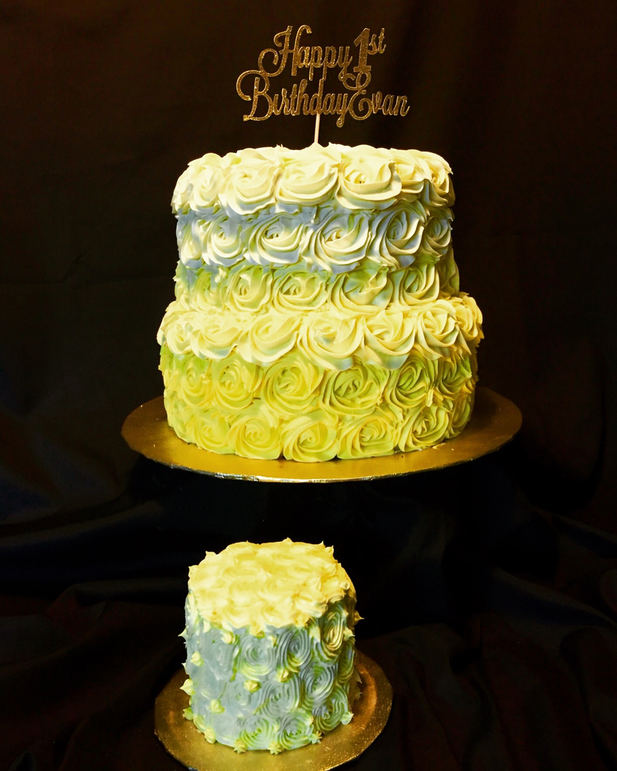 Yellow ombre rosette cake