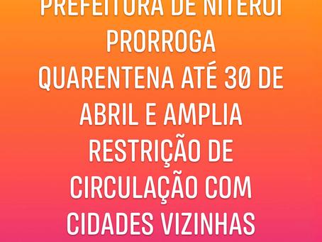 Prefeitura de Niterói prorroga quarentena até 30 de abril e amplia restrição de circulação a cidade