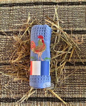 Honeycomb Rooster Towel -Blue