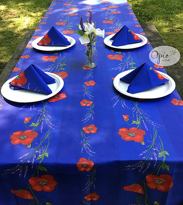 Poppies Blue Rectangular Striped  - Coated Cotton  -  $89-109