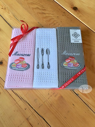 Boxed Set of Provencal Honeycomb Towels - Pink Macaroons