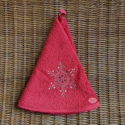Round Towel - Snowflake Red