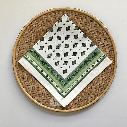 Mirabeau Ivory/Green Napkin - set of two