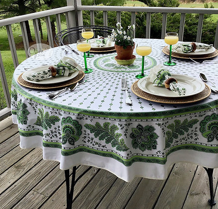 Mirabeau - Ivory/Green Round Coated Cotton  -  $79