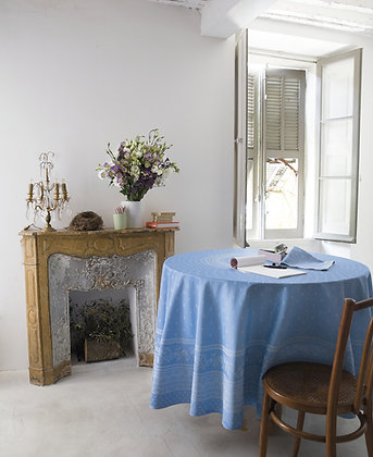 Durance Jacquard Round Tablecloth - Blue