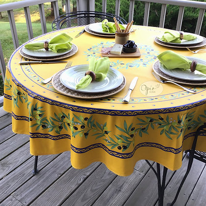 Ramatuelle - Yellow/Blue Round Coated Cotton  -  $79