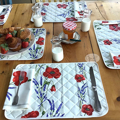 White Poppy Acrylic  Placemat