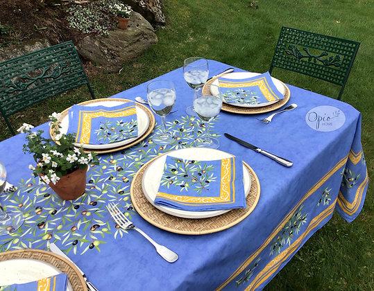 Clos des Oliviers Blue Rectangular Coated Cotton