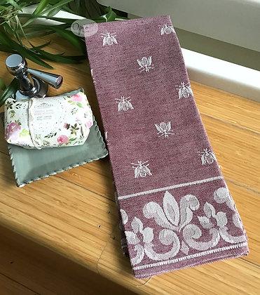 Bee Tea Towel - Burgundy