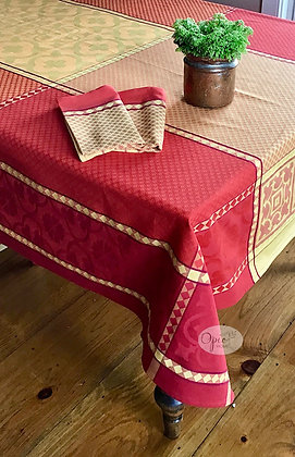 Marius Red/Yellow Jacquard Tablecloth - $79-159