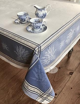 Senanques Ecru/Blue Jacquard Tablecloth - $79-159