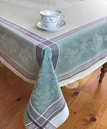 Olivia Sage Jacquard Tablecloth - $79-159