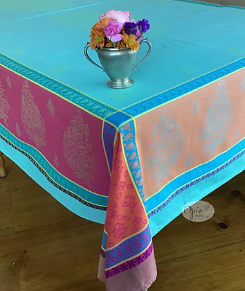 Cassis Turquoise Jacquard Tablecloth - $79-159