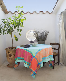 Toselli Cassis Turquoise Jacquard Tablecloth