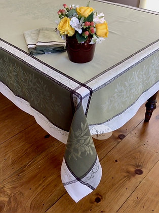 Olives Green Jacquard Tablecloth - $79-159