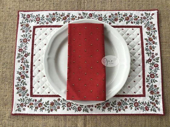 Fleurette Ecru/Red Placemat