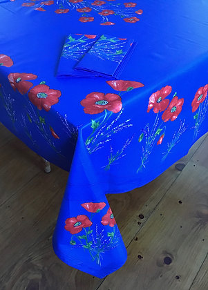 Poppy Blue Design in Place Rectangular - Coated Cotton
